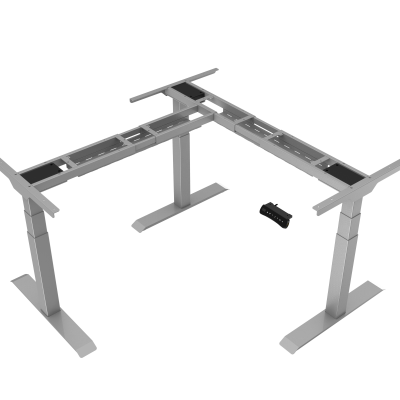 PLTECAB6078MEDWFSIL L-Shaped Height Adjustable Table Silver Finish